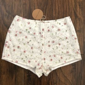 Honey Punch Floral Embroidery Lace Shorts